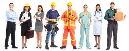 obreros trabajando: Empresario, constructor, enfermera, arquitecto. Aislados sobre fondo blanco  Foto de archivo