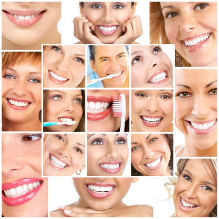 girl teeth: Faces of smiling people. Teeth care. Smile  Stock Photo