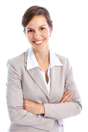 working woman: Smiling business woman. Isolated over white background  Stock Photo
