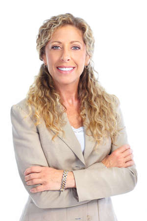 Smiling business woman. Isolated over white background Stock Photo - 7363053