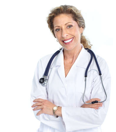 woman doctor: Smiling medical doctor woman with stethoscope. Isolated over white background  Stock Photo