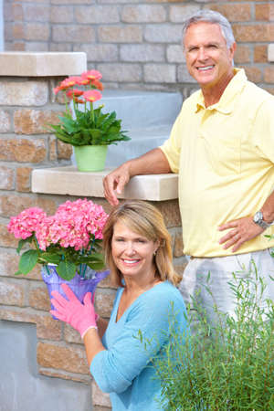 Smiling happy elderly seniors couple gardening near the home Stock Photo - 7365044