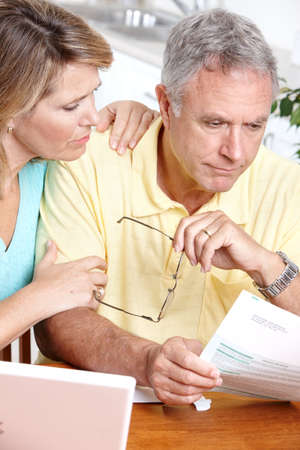 Senior couple  working with laptop at home Stock Photo - 7365038