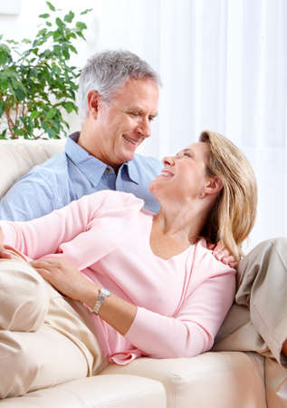 Senior couple at home smiling and happy Stock Photo - 7364994