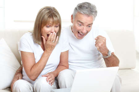 senior computer: Senior couple  working with laptop at home