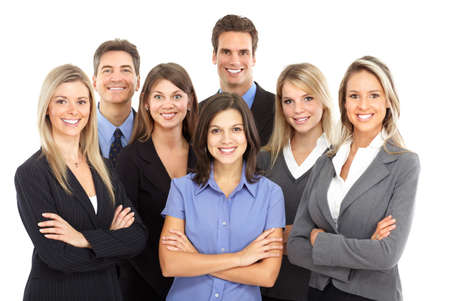 happy team: Group of business people. Isolated over white background  Stock Photo