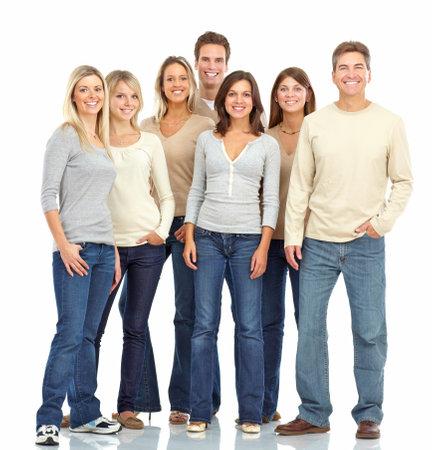 grupo de personas: Feliz gente divertida. Aislados sobre fondo blanco