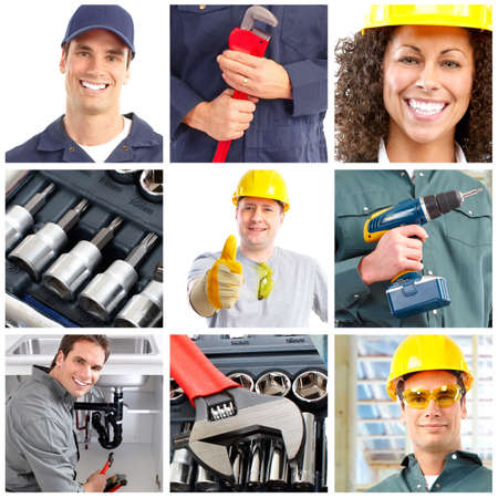 domestic workers: Set of smiling workers and tools