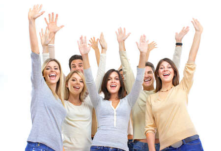 Happy funny people. Isolated over white background Stock Photo - 7447134