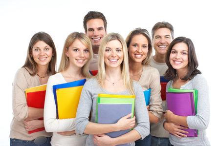 Teenagers studying: Gran grupo de estudiantes sonrientes. Aislados sobre fondo blanco  Foto de archivo