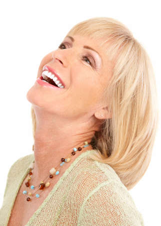 dental insurance: Smiling happy elderly woman. Isolated over white background  Stock Photo