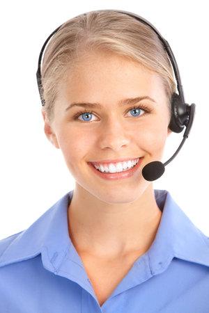 Mooie zaken vrouw met hoofd telefoon. Call Centre Operator. Op witte achtergrond