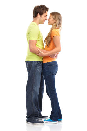 Happy smiling couple in love. Over white background Stock Photo - 7465768