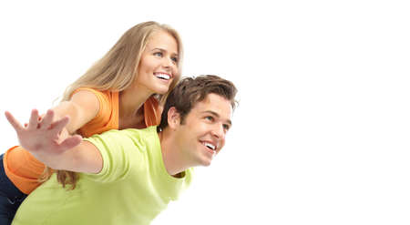 honeymoon couple: Happy smiling couple in love. Over white background