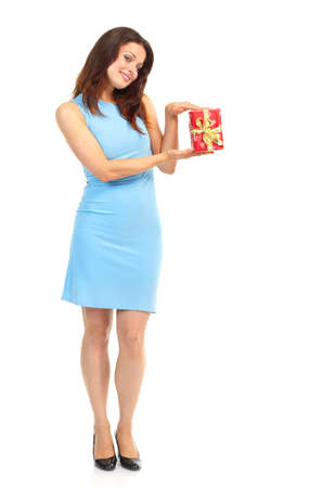 Shopping happy woman with a box. Isolated over white background  photo