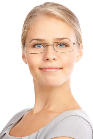 Beautiful smiling business woman with eyeglasses. Over white background  photo