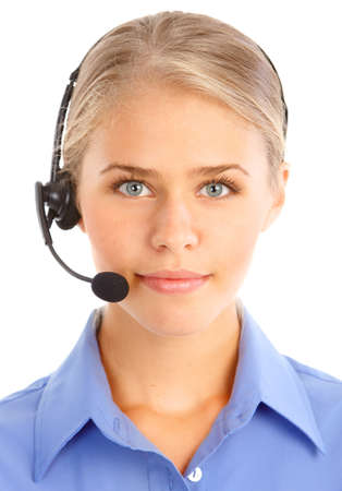 Beautiful  business woman with headset. Call Center Operator. Over white background Stock Photo - 7465748