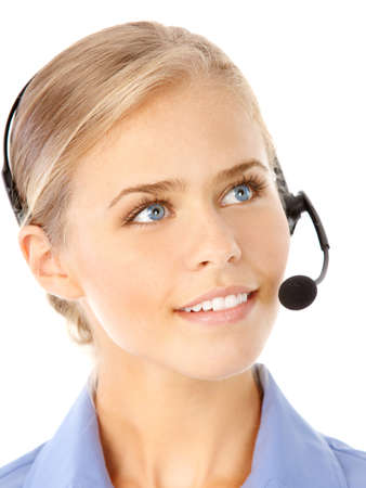 Beautiful  business woman with headset. Call Center Operator. Over white background Stock Photo - 7465778