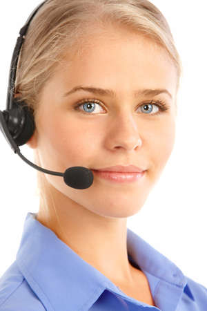 handsfree phones: Beautiful  business woman with headset. Call Center Operator. Over white background