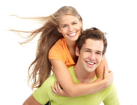 adult dating: Happy smiling couple in love. Over white background
