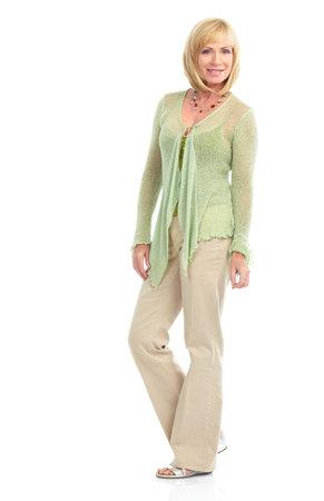 50s fashion: Smiling happy elderly woman. Isolated over white background  Stock Photo