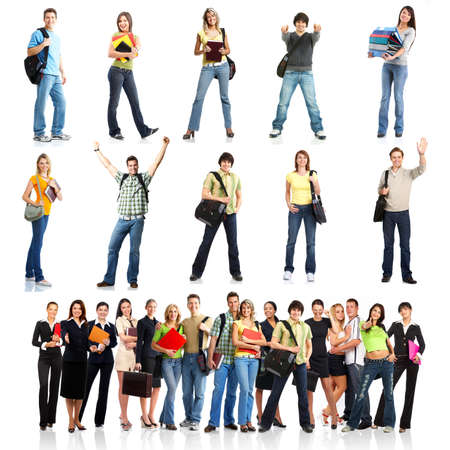 university students: Large group of smiling  students. Isolated over white background