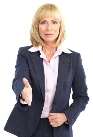 business woman handshake. Isolated over white background  photo