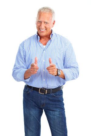 50s man: Smiling happy elderly man. Isolated over white background  Stock Photo