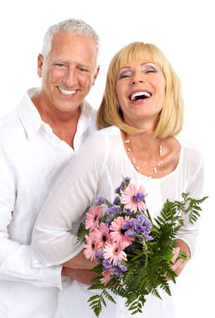 Senior couple in love. Isolated over white background Stock Photo - 7498084