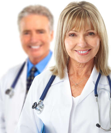Smiling medical doctors with stethoscope. Isolated over white background Stock Photo - 7513384