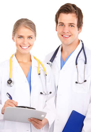 Smiling medical doctors with stethoscopes. Isolated over white background Stock Photo - 7552664