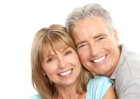 Happy seniors couple in love. Healthy teeth. Isolated over white background Stock Photo - 7552729