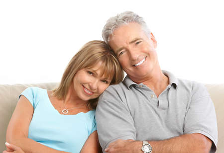 Happy seniors couple in love. Healthy teeth. Isolated over white background Stock Photo - 7552736