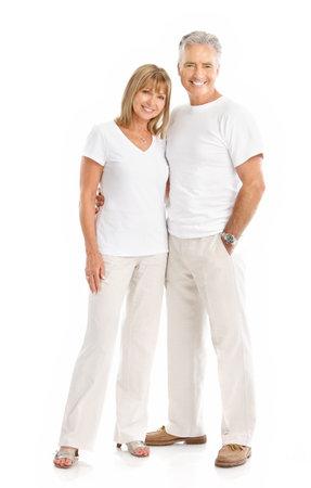 Happy elderly seniors couple in love. Isolated over white background Stock Photo - 7552635
