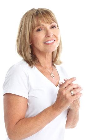 웃 고 행복 노인 여성입니다. 흰색 배경 위에 절연