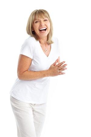 Lachende gelukkig bejaarde vrouw. Geïsoleerd op witte achtergrond  Stockfoto