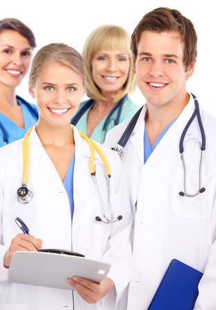 Smiling medical doctors with stethoscopes. Over white background Stock Photo - 7552773