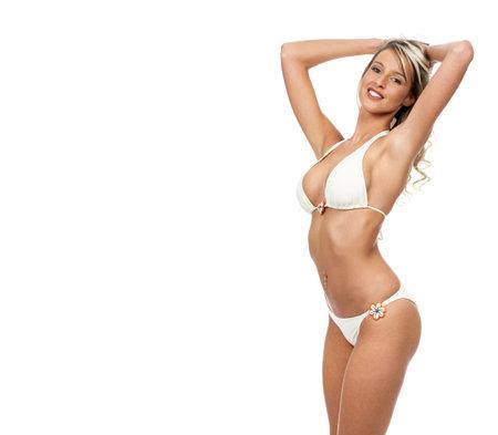 badpak: Sexy blonde vrouw. Geïsoleerd op witte achtergrond
