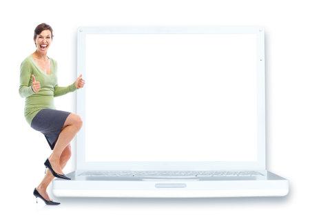 흰색 노트북과 행복 한 젊은 여자. 흰색 배경 위에 절연 스톡 콘텐츠