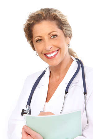 dentists clinic: Smiling medical doctor with stethoscope. Isolated over white background