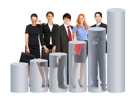 tendency:  Business people team and graph. Isolated over white background