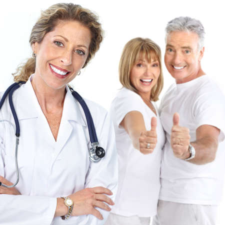 Smiling medical doctor with stethoscope and elderly couple Stock Photo - 7578800