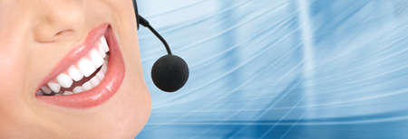 helpdesk: Beautiful  business woman with headset. Call center. Customer support. Helpdesk.