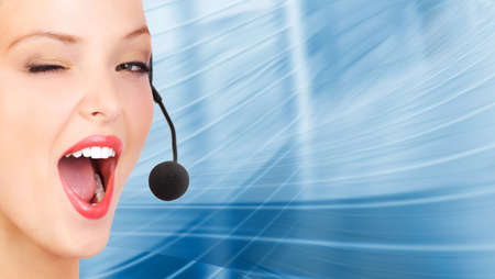 Beautiful  business woman with headset. Call center. Customer support. Helpdesk.  photo