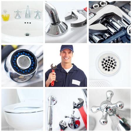 outils plomberie: Plombier jeune fixant un dissipateur