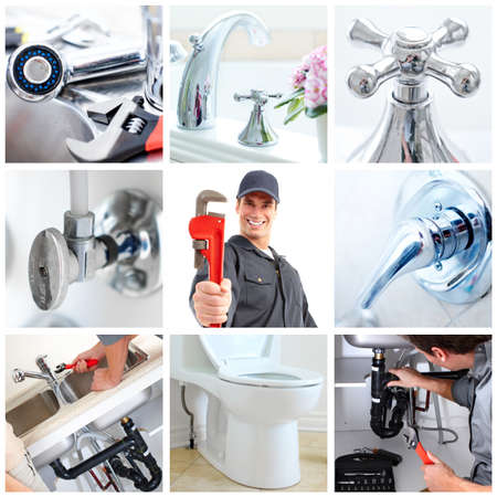 industrial drop: Young plumber fixing a sink   Stock Photo