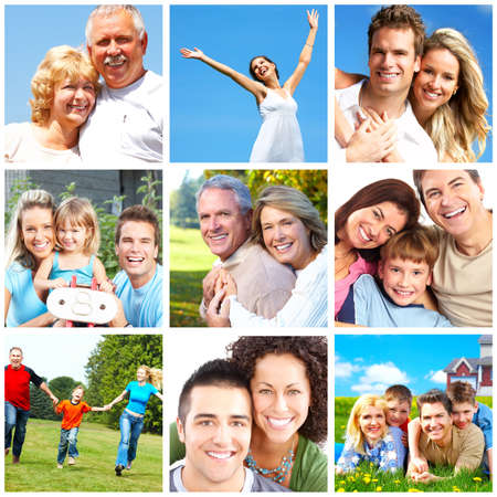 dental insurance: Happy people and families in the park