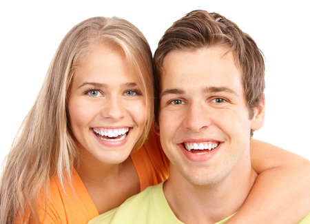 smile teeth: Happy smiling couple in love. Over white background