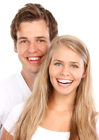 Happy smiling couple in love. Over white background Stock Photo - 7635094