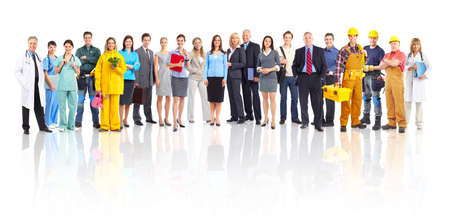 large: Large group of smiling workers people. Over white background